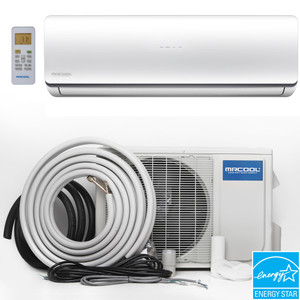MrCool O-HH-24-HP Mini Split Evaporator, Condenser and Line Set showing Energy Star Rated