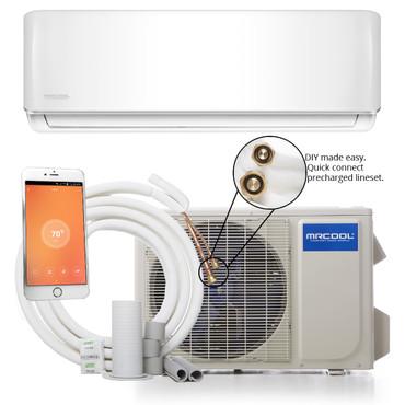 MrCool DIY-18-HP Mini Split Evaporator, Condenser and Line Set showing Wifi Capability
