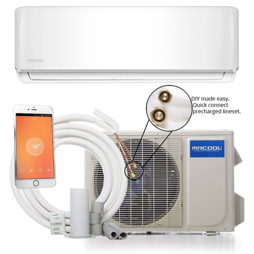 MrCool DIY-12-HP Mini Split Evaporator, Condenser and Line Set showing Wifi Capability