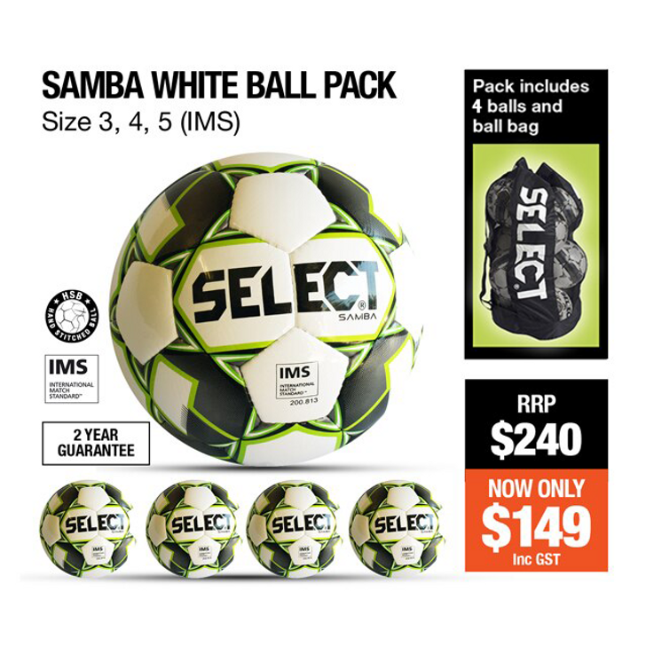 BALL PACK - SAMBA (FOUR) PACK WHITE/BLACK