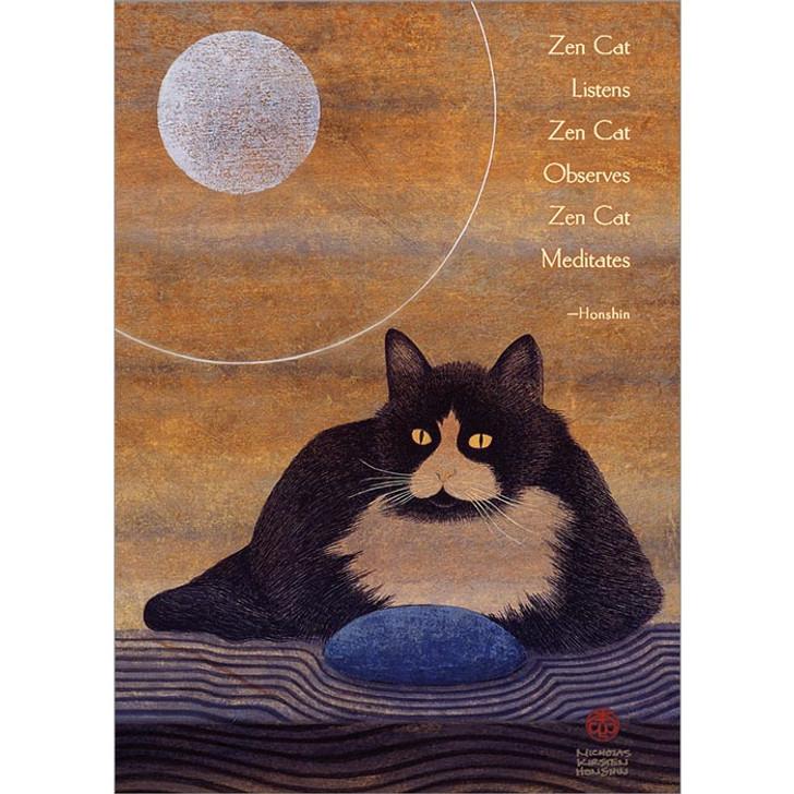 Zen Cat Listens Greeting Card