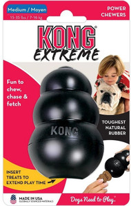 KONG Extreme Medium has world's strongest dog tough rubber for your aggressive chewing dog
