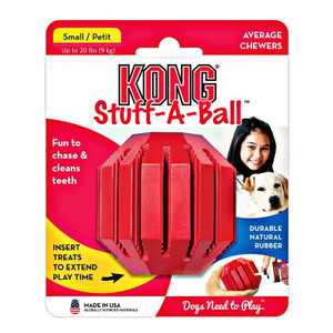 Kong Stuff-A-Ball small will keep your dog entertained for hours. A Safe, made in USA dog toy