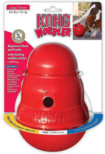 KONG Wobbler Large is a very tough and durable treat dispenser or slow feeder for medium to large size dogs