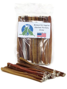 Mickey's Odorless Bully Sticks Made in USA 6 inch (10 pk THINS)