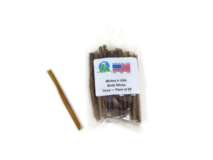 Mickey's Odorless Bully Sticks Made in USA 6 inch 25pk THINS