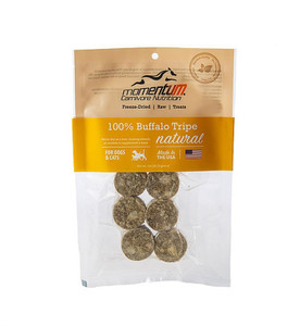 Momentum Carnivore Nutrition Freeze Dried Buffalo Tripe treats for dogs and cats are a natural delicacy for your pet. They are a rich protein source, full of amino acids to help build strong muscles and bones. Sourced and made in USA. 1 oz. bag