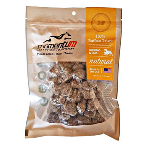 Momentum Carnivore Nutrition Freeze Dried Buffalo Tripe treats for dogs and cats are a natural delicacy for your pet. They are a rich protein source, full of amino acids to help build strong muscles and bones. Sourced and made in USA. 4 oz. bag