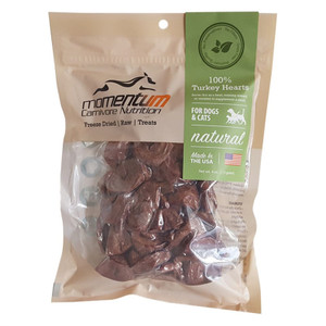 Momentum Carnivore Nutrition Freeze Dried Turkey hearts treats for dogs and cats 4 oz.