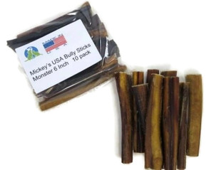 Made in USA odor free MONSTER bully stick 6 inch Pack of 10