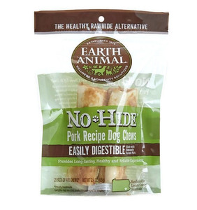 Earth Animal No Hide Pork Dog Chew 4 Inch 2 Pack