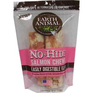 Earth Animal No Hide Salmon Dog Chew 7 Inch 2 Pack