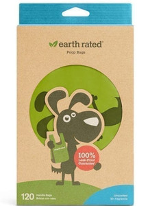 Earth Rated Poop Bags With Handles 120 Count - Unscented