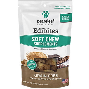 Pet Releaf Peanut Butter Carob CBD Hemp Soft Chews for Large Dogs