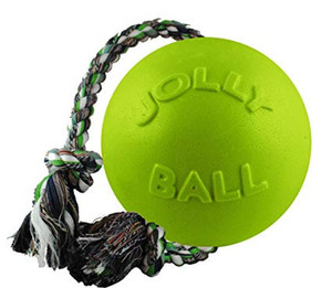 Jolly Pets Romp N Roll Ball Green Apple 6 inch Dog Toy stands up to the roughest, toughest dogs