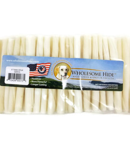"""Wholesome Hide 5"""" Twists 100pk USA made from 100 percent US beef hide no chemicals added for small size dogs that love to chew"""