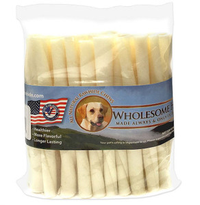 "Wholesome Hide 5"" Twists 50pk USA made from 100 percent US beef hide no chemicals added for large size dogs that love to chew"