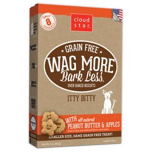 Cloud Star Wag More Bark Less Itty Bitty Baked Grain Free Peanut Butter Apple dog treats