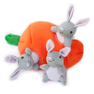 Zippy Burrow Bunnies N Carrot Puzzle Dog Toy