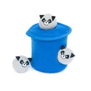 Zippy Burrow Raccoons in Trash Can dog puzzle toy
