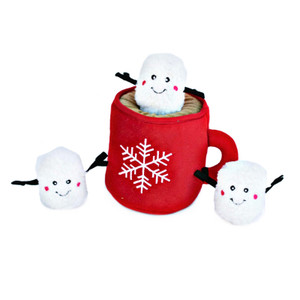 Zippy Holiday Burrow Hot Cocoa and Marshmallows Puzzle Dog Toy