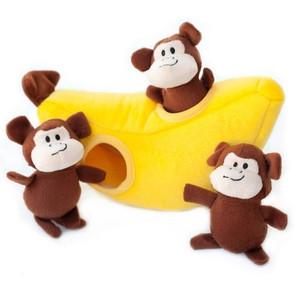 Zippy Burrow Monkey N Banana puzzle dog toy