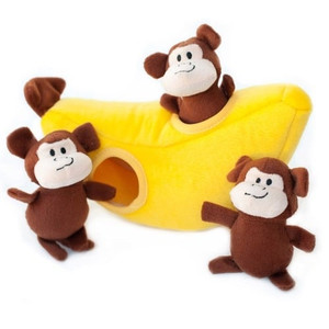 Zippy Burrow Monkey N Banana puzzle dog toy