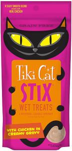 Tiki Cat Stix Wet Treats Chicken in Creamy Gravy- Treat or Food Topper- 6 sticks