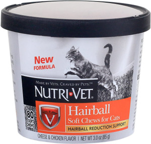 Nutri-vet Hairball Soft Chews for Cats Cheese and Chicken Flavor