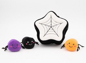 ZippyPaws Halloween Burrow Spider Web with 3 Squeaky Spiders