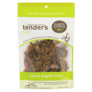 Earth Animal Herbed Chicken Tenders Flex Joint Support Treats 4 oz.