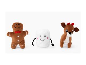 ZippyPaws Holiday Dog Toy- Santa's Friends Miniz 3 pack- Mickeyspetsupplies.com