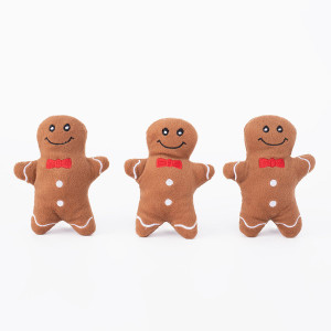 ZippyPaws Holiday Dog Toy Gingerbread Men Miniz 3 pack- Mickeyspetsupplies.com