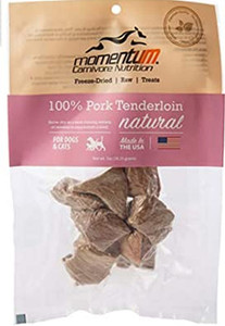 Momentum Carnivore Nutrition Freeze Dried Pork Tenderloin treats for dogs and cats 1 oz.