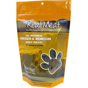 Real Meat Chicken and Venison Jerky Dog Treats 4 oz.