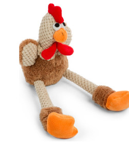 GoDog Checkers Skinny Rooster MINI size dog toy