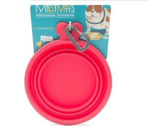 Messy Mutts Silicone Travel Bowl 3 Cup- Red