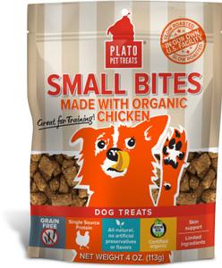 Plato Small Bites with Organic Chicken 4 oz. bag- Mickeyspetsupplies.com