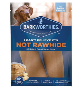 Barkworthies I Can't Believe It's Not Rawhide Peanut Butter Chew- Large 2 Pack