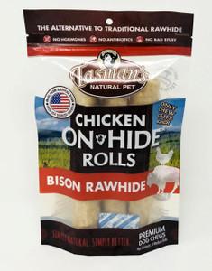 Tasman's Chicken On-Hide Premium Bison Rawhide Rolls Medium 3 Pack