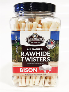 Tasman's Natural Pet Bison Rawhide Twisters 75 Pk