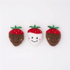 ZippyPaws Valentine's Miniz Chocolate Covered Strawberries - 3 pack