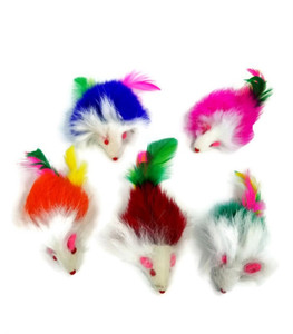 Fur Rattle Mice With Feather Tail Cat Toys 2 Pack