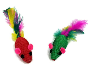 Two Twined Mice with Feather Tails Cat Toy