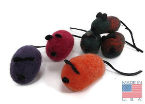 Natural Wool Mouse Cat Toy Brights Made in USA Cat Toy