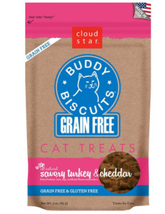 Cloud Star Cat Treats- Buddy Biscuits Grain Free Turkey & Cheddar