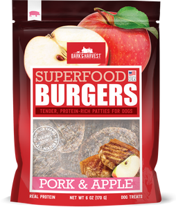 Bark & Harvest Pork and Apple Burgers New look, Same ingredients!
