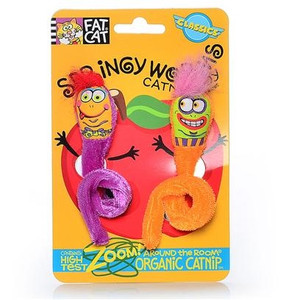 Fat Cat Springy Worms Catnip Cat Toys 2 pack