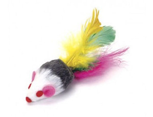 Go Cat Feather Tailed Mouse with Rattle cat toy