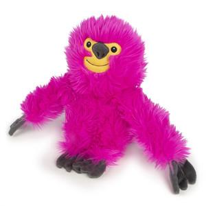 GoDog Fuzzy Pink Sloth Dog Toy  with Chewguard